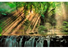地球,阳光,自然,瀑布,溪流,温室,岩石,壁纸,图片