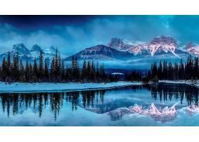 地球,山,山脉,反射,湖,森林,冬天的,风景,雪,壁纸,