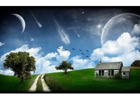 地球,A,轻柔的,世界,幻想,领域,房子,草,鸟,树,小路,行星,流星,壁图片
