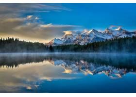 地球,反射,自然,湖,山,云,森林,壁纸,图片