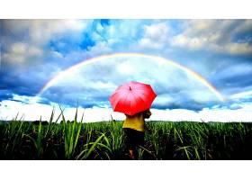 地球,彩虹,领域,草,小的,女孩,雨伞,壁纸,图片
