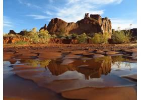 地球,拱,国家的,公园,国家的,公园,岩石,水,反射,荒地,自然,沙漠,
