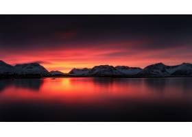 日落,湖,风景,山,自然,橙色的,天空,云,壁纸,图片