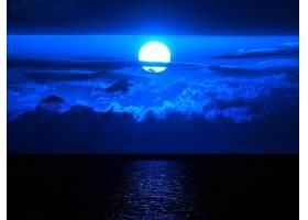 月球,天空,蓝色,云,海洋,壁纸,图片