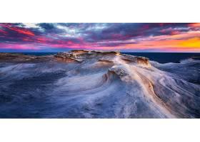 日落,天空,悬崖,海洋,红色,橙色的,云,地平线,壁纸,图片