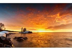 日落,天空,海洋,橙色的,地平线,壁纸,图片