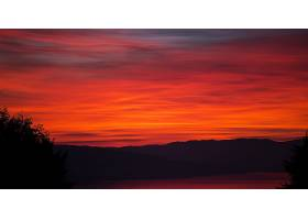 日落,自然,轮廓,橙色的,小山,天空,黄昏,壁纸,图片