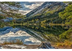 地球,风景,水,反射,树,山,绿色的,湖,壁纸,