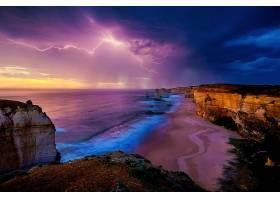 这,十二,倡导者,天空,闪电,澳大利亚,海洋,海,岩石,地平线,沙,海图片