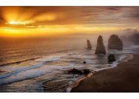 这,十二,倡导者,日落,岩石,澳大利亚,海滩,海洋,海,地平线,壁纸,图片