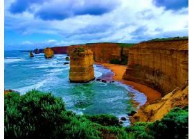 这,十二,倡导者,海岸线,岩石,海洋,海,悬崖,澳大利亚,壁纸,图片