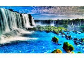 瀑布,瀑布,蓝色,岩石,天空,壁纸,图片