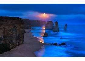 这,十二,倡导者,海岸线,海滩,日落,黄昏,岩石,海洋,悬崖,壁纸,图片