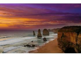 这,十二,倡导者,海洋,海,日落,岩石,地平线,悬崖,壁纸,图片