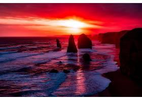 这,十二,倡导者,澳大利亚,海岸,海岸线,海洋,日落,维多利亚,壁纸,图片