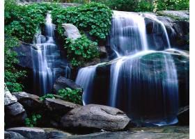 瀑布,瀑布,自然,岩石,水,植物,壁纸,图片
