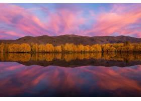 地球,反射,自然,森林,湖,云,秋天,山,壁纸,图片