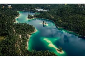 地球,湖,湖,绿松石,森林,树,绿色的,天线,壁纸,