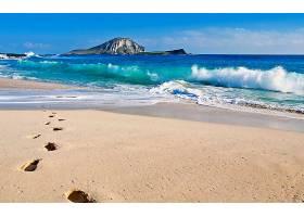 地球,海洋,波浪,海,脚印,蓝色,海滩,岛,沙,地平线,壁纸,