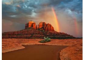 地球,彩虹,峡谷,沙漠,日落,壁纸,