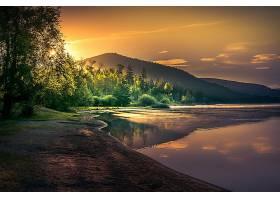 地球,湖,湖,自然,森林,阳光,反射,壁纸,图片