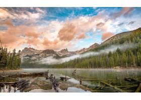 地球,湖,湖,自然,雾,森林,云,天空,山,原木,壁纸,图片