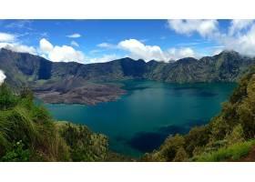 地球,火山,火山,印度尼西亚,树,绿色的,蓝色,湖,壁纸,