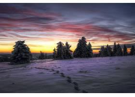 地球,冬天的,自然,雪,风景,日落,脚印,天空,壁纸,