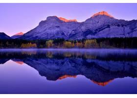 地球,反射,山,日出,自然,湖,悬崖,森林,壁纸,图片