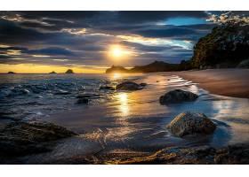地球,海滩,自然,日落,岩石,沙,地平线,海洋,海岸,壁纸,