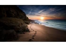 地球,海滩,自然,沙,海洋,地平线,日落,岩石,脚印,壁纸,
