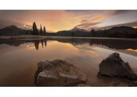 地球,反射,湖,山,森林,岩石,自然,风景,云,壁纸,
