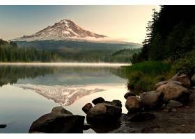 地球,反射,湖,雾,山,岩石,自然,森林,壁纸,图片