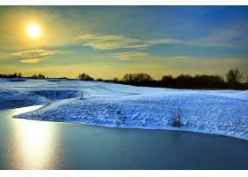 地球,冬天的,湖,雪,树,壁纸,图片