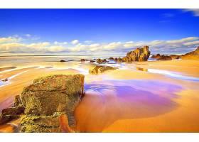 地球,海滩,日落,岩石,沙,地平线,壁纸,