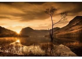 地球,反射,自然,日出,湖,山,壁纸,图片