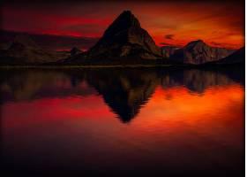 地球,反射,自然,日落,山,山峰,湖,橙色的,壁纸,图片