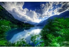 地球,湖,湖,山,风景,绿色的,树,云,壁纸,