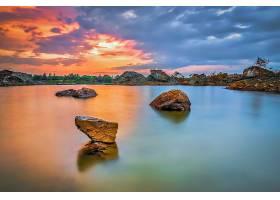 地球,湖,湖,岩石,自然,壁纸,(1)
