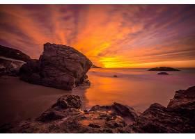 地球,海洋,岩石,地平线,天空,自然,日落,橙色的,壁纸,图片