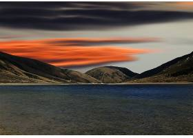 地球,湖,湖,日落,风景,山,天空,云,水,橙色的,壁纸,