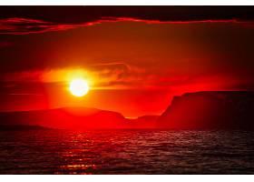 日落,太阳,海,红色,山,壁纸,图片