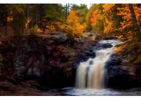 瀑布,瀑布,森林,秋天,叶子,树,岩石,壁纸,(1)图片