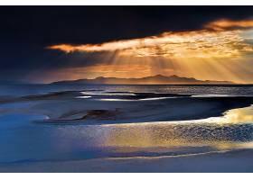 阳光,天空,云,地平线,山,沙,自然,海滩,壁纸,图片