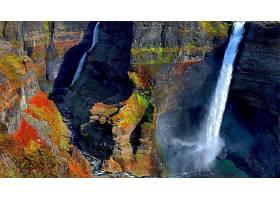 瀑布,瀑布,自然,峡谷,水,彩色,壁纸,