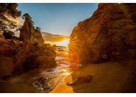 阳光,自然,太阳,岩石,沙,壁纸,图片