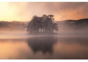 雾,自然,湖,反射,冬天的,壁纸,图片