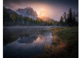 秋天,森林,岩石,悬崖,河,雾,湖,壁纸,