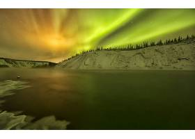 曙光,北极星,天空,日落,冬天的,雪,夜晚,壁纸,图片
