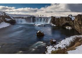 瀑布,瀑布,自然,河,冬天的,悬崖,风景,云,雪,壁纸,图片